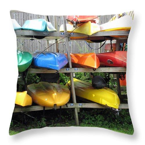 Kayaks Throw Pillow featuring the photograph Waiting by Barbara McDevitt