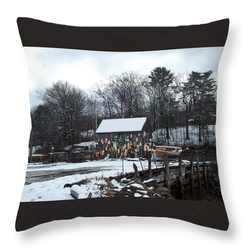 john Hancock Shack Throw Pillow featuring the photograph Waiting For Lobster by Barbara McDevitt