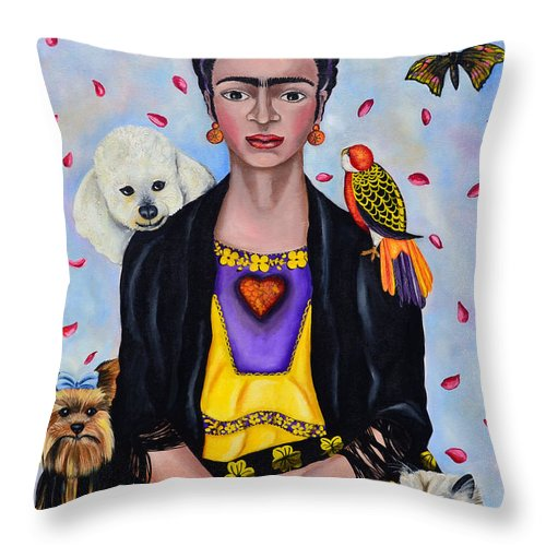 Lovely Portrait Inspired By Mexican Painter Frida Kahlo. Painting By Ana Lettieri Throw Pillow featuring the photograph Waiting For Love. Esperando El Amor. by Fernando Barozza