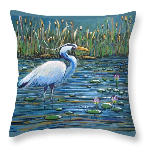 Great Blue Heron Throw Pillow featuring the painting Waiting For Lunch by Suzanne Theis