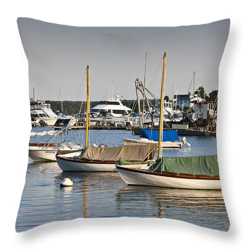 Boat Throw Pillow featuring the photograph Waiting For Sailors by Dennis Coates