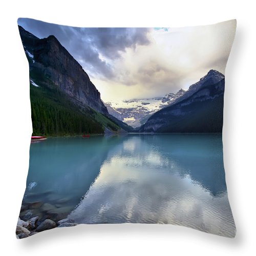 Lake Louise Throw Pillow featuring the photograph Waiting For Sunrise At Lake Louise by Teresa Zieba