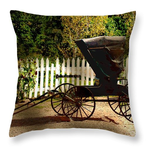 Amish Throw Pillow featuring the painting Waiting For The Mare by RC DeWinter
