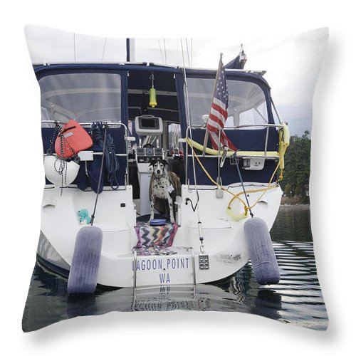 Salish Sea Throw Pillow featuring the photograph Waiting For The Water Taxi by Bob VonDrachek