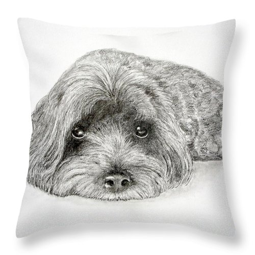 Dog Throw Pillow featuring the drawing Waiting For You by Chris Fraser