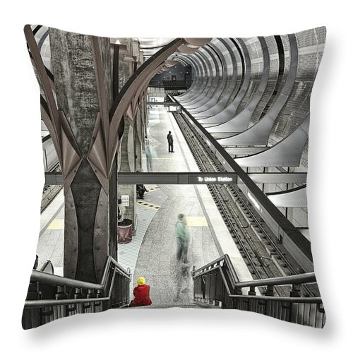 Hollywood Throw Pillow featuring the photograph Waiting - Hollywood Subway Station. by Jamie Pham