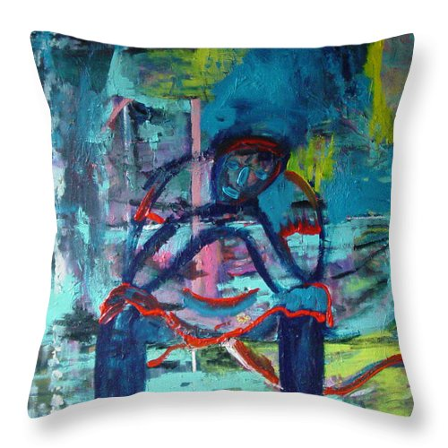 Woman On Bench Throw Pillow featuring the painting Waiting by Peggy Blood