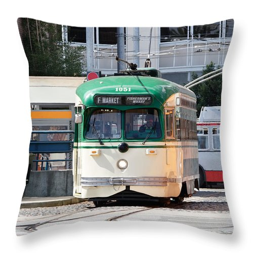 Streetcar Throw Pillow featuring the photograph Waiting To Turn by Jo Ann Snover