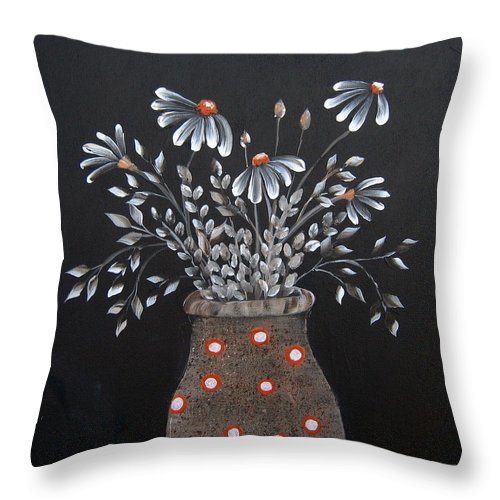 Flowers Throw Pillow featuring the painting Wake Up And See The Flowers by Suzanne Theis