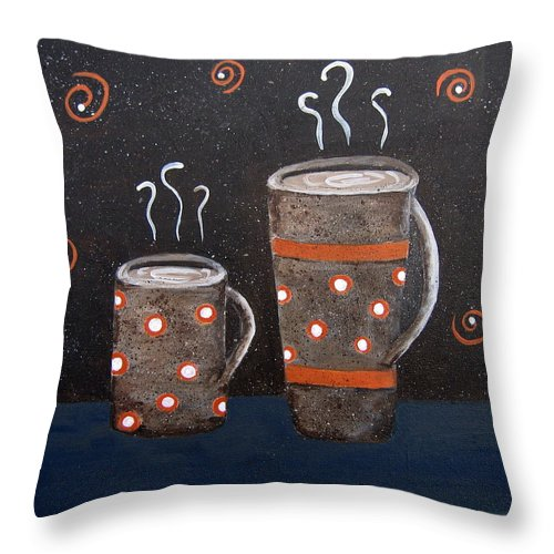 Coffee Throw Pillow featuring the painting Wake Up And Smell The Coffee by Suzanne Theis