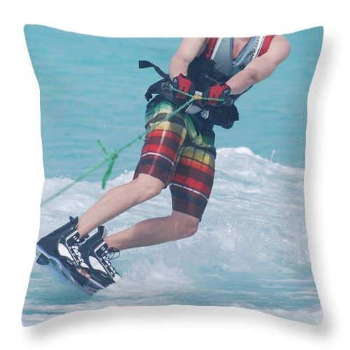 Wakeboarding Throw Pillow featuring the photograph Wakeboarding Style by DejaVu Designs