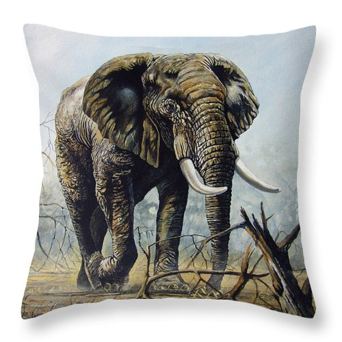 Lone Bull Throw Pillow featuring the painting Walk About by Anthony Mwangi