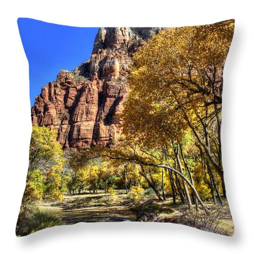 Zion National Park Throw Pillow featuring the photograph Walk Along The River by Jon Berghoff