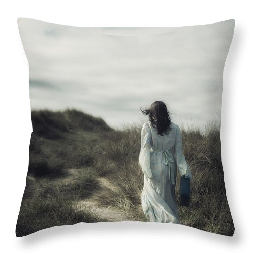 Woman Throw Pillow featuring the photograph Walk In The Wind by Joana Kruse