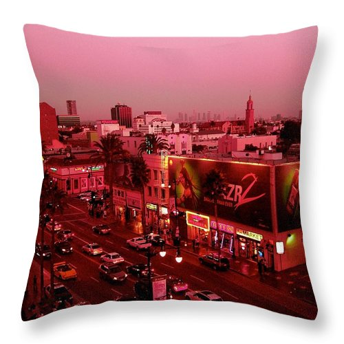 Hollywood Prints Throw Pillow featuring the photograph Walk Of Fame In Pink by Monique's Fine Art