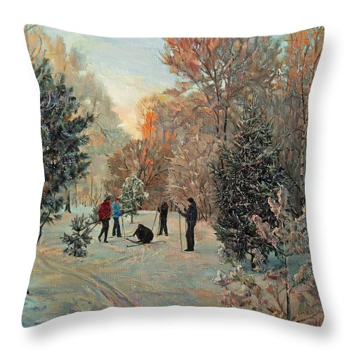 Walk Throw Pillow featuring the painting Walk To Skiing In The Winter Park by Galina Gladkaya