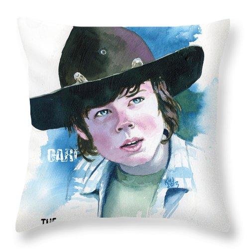 Walking Dead Throw Pillow featuring the painting Walking Dead Carl by Ken Meyer jr