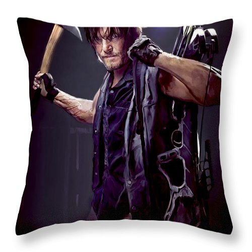 Daryl Throw Pillow featuring the painting Walking Dead - Daryl Dixon by Paul Tagliamonte