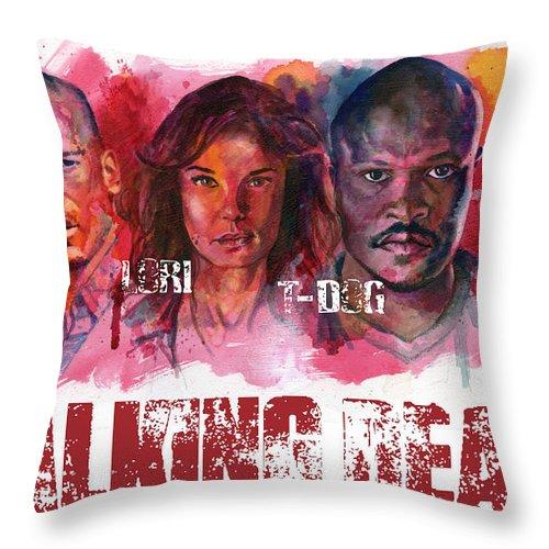 Walking Dead Throw Pillow featuring the painting Walking Dead Dead by Ken Meyer jr