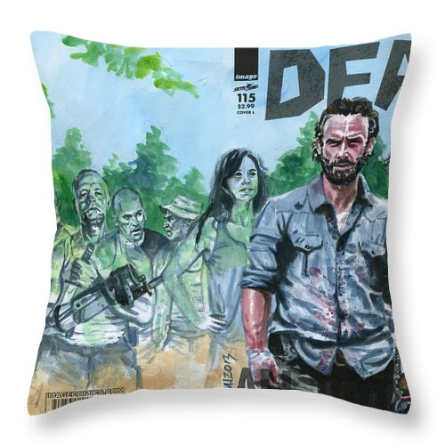 Walking Dead Throw Pillow featuring the painting Walking Dead Ghosts by Ken Meyer jr