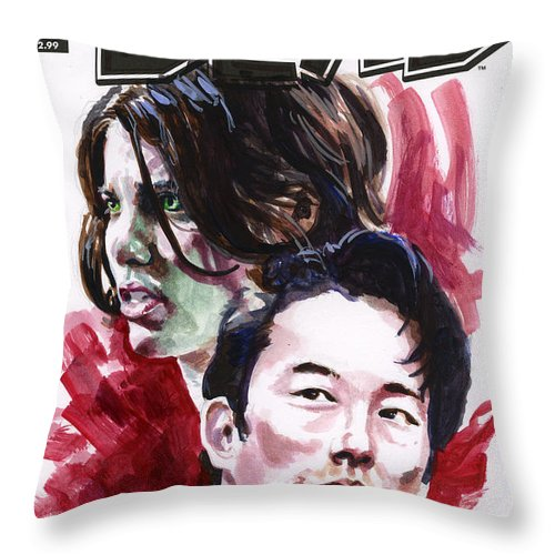 Walking Dead Throw Pillow featuring the painting Walking Dead Glenn and Maggie by Ken Meyer jr