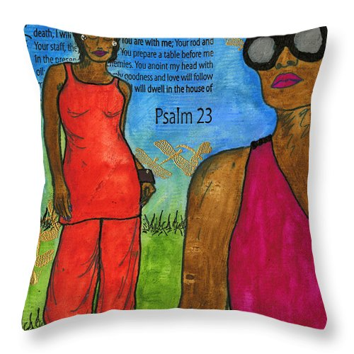 Prayer Throw Pillow featuring the mixed media Walking In The Spirit by Angela L Walker