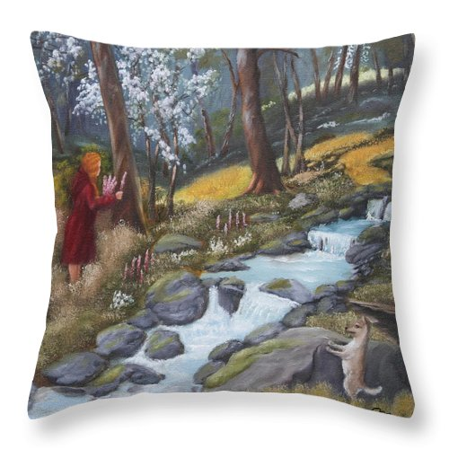 Landscape Throw Pillow featuring the painting Walking In The Woods One Day by Lou Magoncia