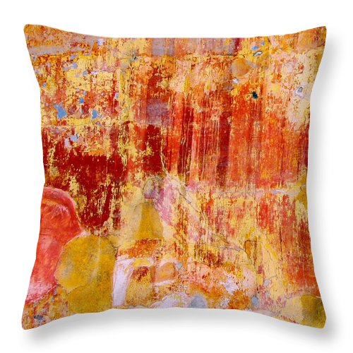 Wall Throw Pillow featuring the digital art Wall Abstract 2 by Maria Huntley
