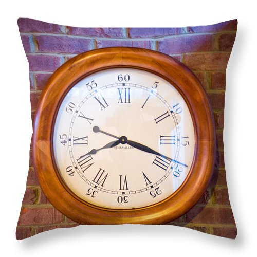 Brick Throw Pillow featuring the photograph Wall Clock 1 by Douglas Barnett
