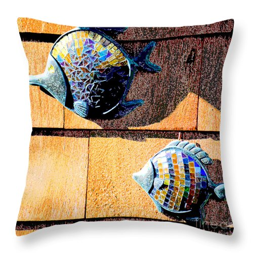 Red Throw Pillow featuring the photograph Wall Fish by Flamingo Graphix John Ellis