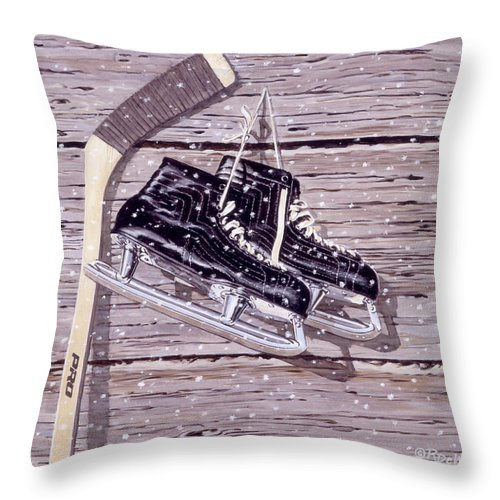Hockey Throw Pillow featuring the painting Wall Of Fame by Richard De Wolfe