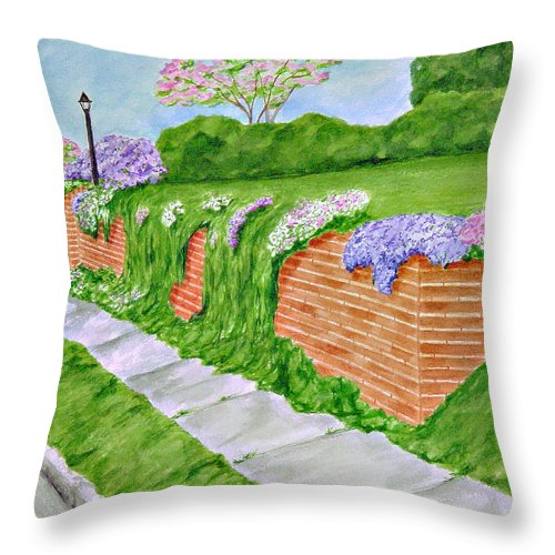 Landscape Throw Pillow featuring the painting Wall Of Flowers by Regan J Smith