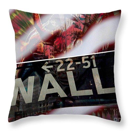 Wall Street Bull Paintings Mixed Media Mixed Media Throw Pillow featuring the mixed media Wall Street by Marvin Blaine