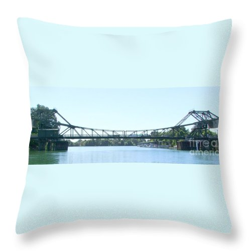 Bridge Throw Pillow featuring the photograph Walnut Grove Bridge Mural by Mary Deal