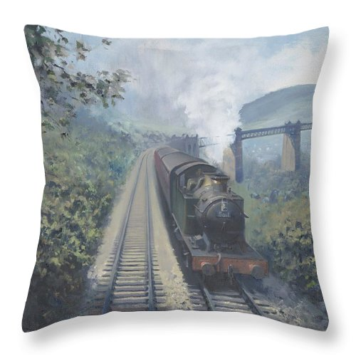 Train Throw Pillow featuring the painting Walnut Tree Viaduct by Richard Picton
