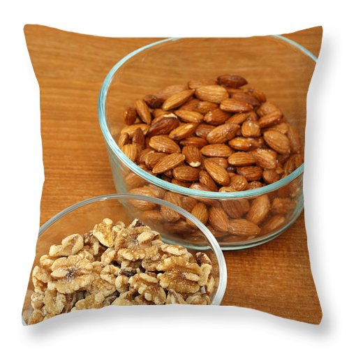 Raw Throw Pillow featuring the photograph Walnuts And Almonds by Lee Serenethos
