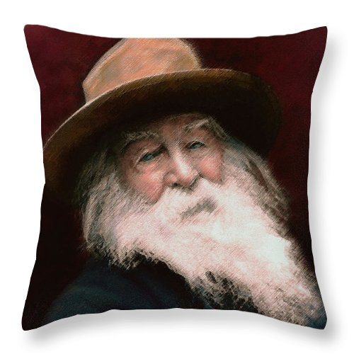 Portraits Throw Pillow featuring the painting Walt Whitman by John Travisano