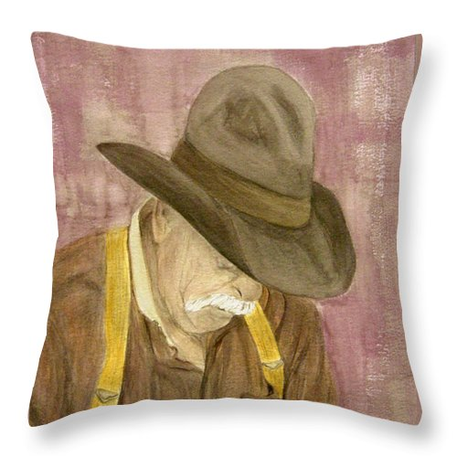 Western Throw Pillow featuring the painting Walter by Regan J Smith