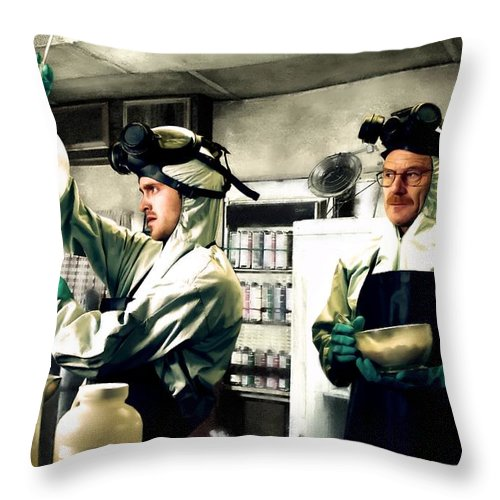 Bryan Cranston Throw Pillow featuring the digital art Walter White and Jesse Pinkman by Gabriel T Toro