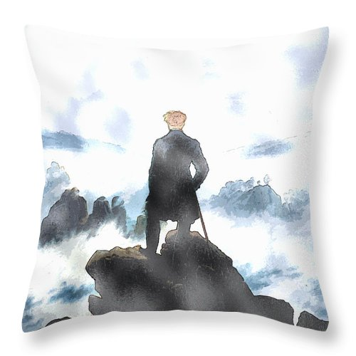 Wanderer Above The Sea Of Fog Throw Pillow featuring the painting Wanderer Above The Sea Of Fog by Celestial Images