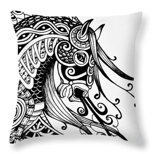 Horse Throw Pillow featuring the drawing War Horse - Zentangle by Jani Freimann