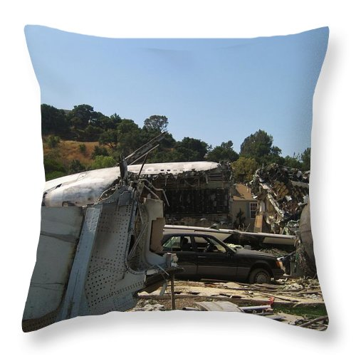 War Of The Worlds Throw Pillow featuring the photograph War Of The Worlds - Universal Studios by Dany Lison