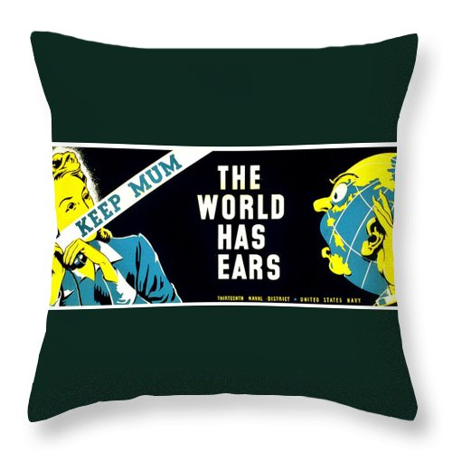 Vintage Throw Pillow featuring the photograph War Poster - Ww2 - Keep Mum by Benjamin Yeager