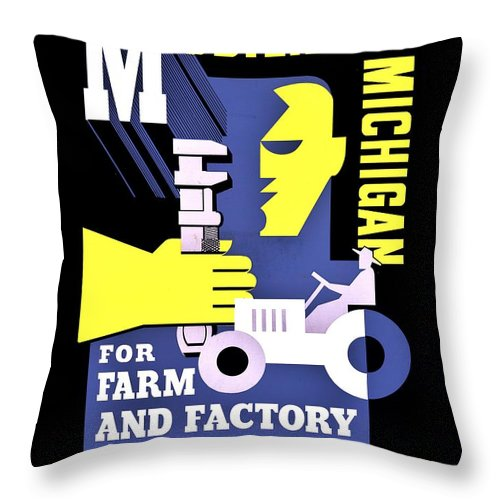 Michigan Throw Pillow featuring the photograph War Poster - Ww2 - Mobilizing Michigan by Benjamin Yeager