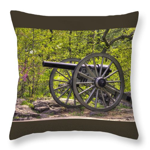 Civil War Throw Pillow featuring the photograph War Thunder - 5th United States Artillery Hazletts Battery - Little Round Top Gettysburg Spring by Michael Mazaika