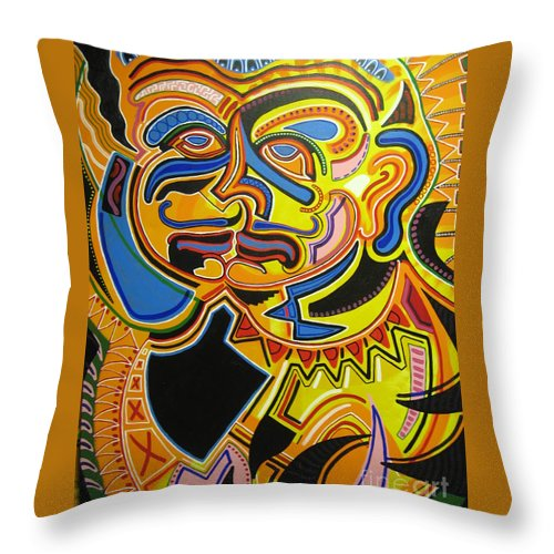 Michael Kulick Throw Pillow featuring the painting War Within by Michael Kulick