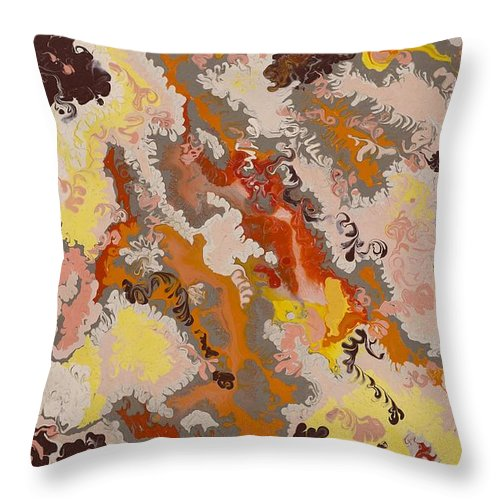 Abstract Throw Pillow featuring the painting Warm Abstract by Gladys Berchtold