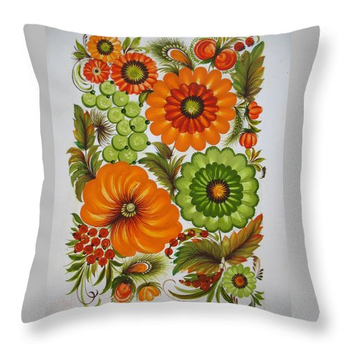 Ukrainian National Petrykivsky Rospys Throw Pillow featuring the painting Warm And Green by Kateryna Wiman
