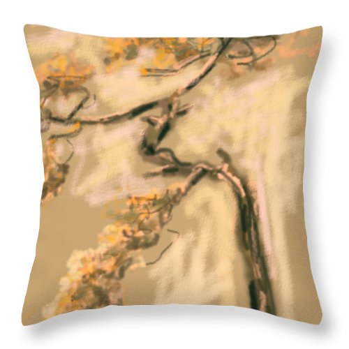 Tree Throw Pillow featuring the painting Warm Tree by Go Van Kampen