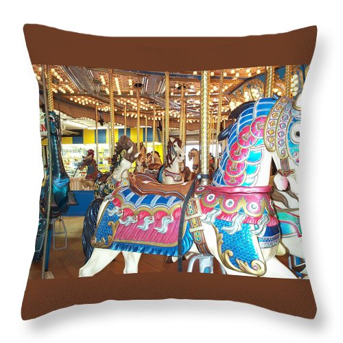 Carousel Horse Throw Pillow featuring the photograph Warrior by Barbara McDevitt